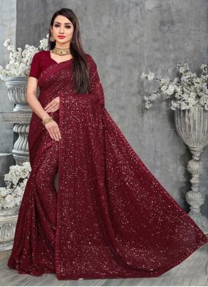 Magenta Sequins Ceremonial Designer Saree
