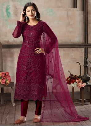 Magenta Sequins Churidar Designer Suit