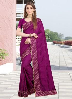 Magenta Silk Designer Bollywood Saree