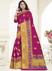 Magenta Weaving Banarasi Silk Designer Saree