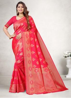 Magenta Weaving Jacquard Silk Casual Saree