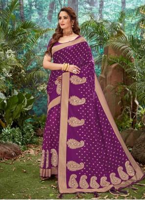 Magenta Weaving Silk Designer Saree