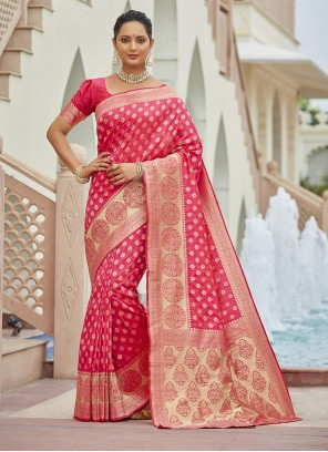 Magenta Weaving Silk Traditional Saree
