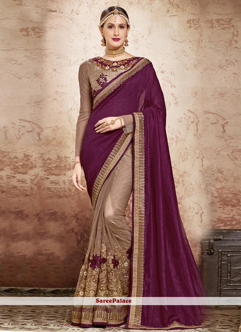 Magnetic Embroidered Work Designer Half N Half Saree