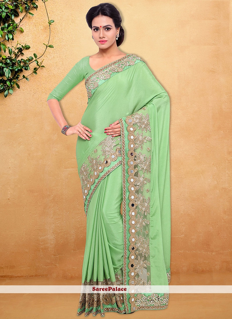Magnetic Embroidered Work Faux Chiffon Classic Saree