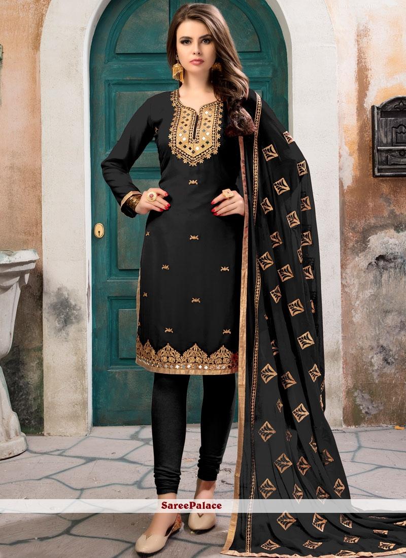 Magnetic Embroidered Work Faux Georgette Black Churidar Designer Suit
