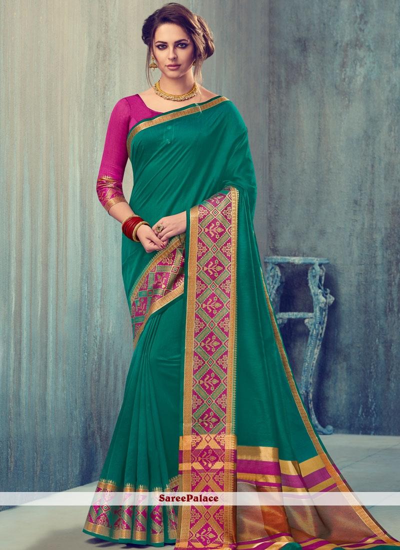 Magnetize Art Silk Sea Green woven Work Designer Traditional Saree