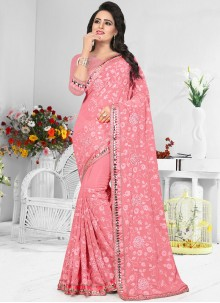 Magnetize Faux Georgette Embroidered Work Classic Designer Saree