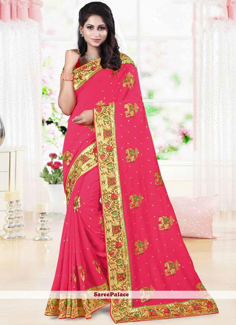 Magnificent Art Silk Patch Border Work Traditional Designer Saree