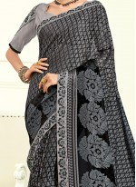 Majestic Art Silk Black Traditional  Saree