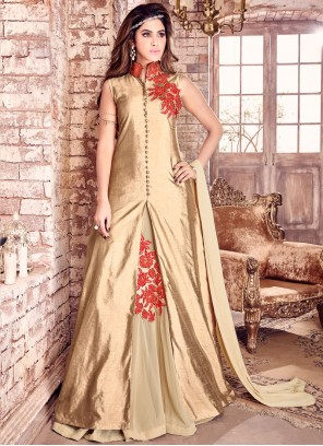 Majestic Embroidered Work Gold Bhagalpuri Silk Floor Length Designer Salwar Suit