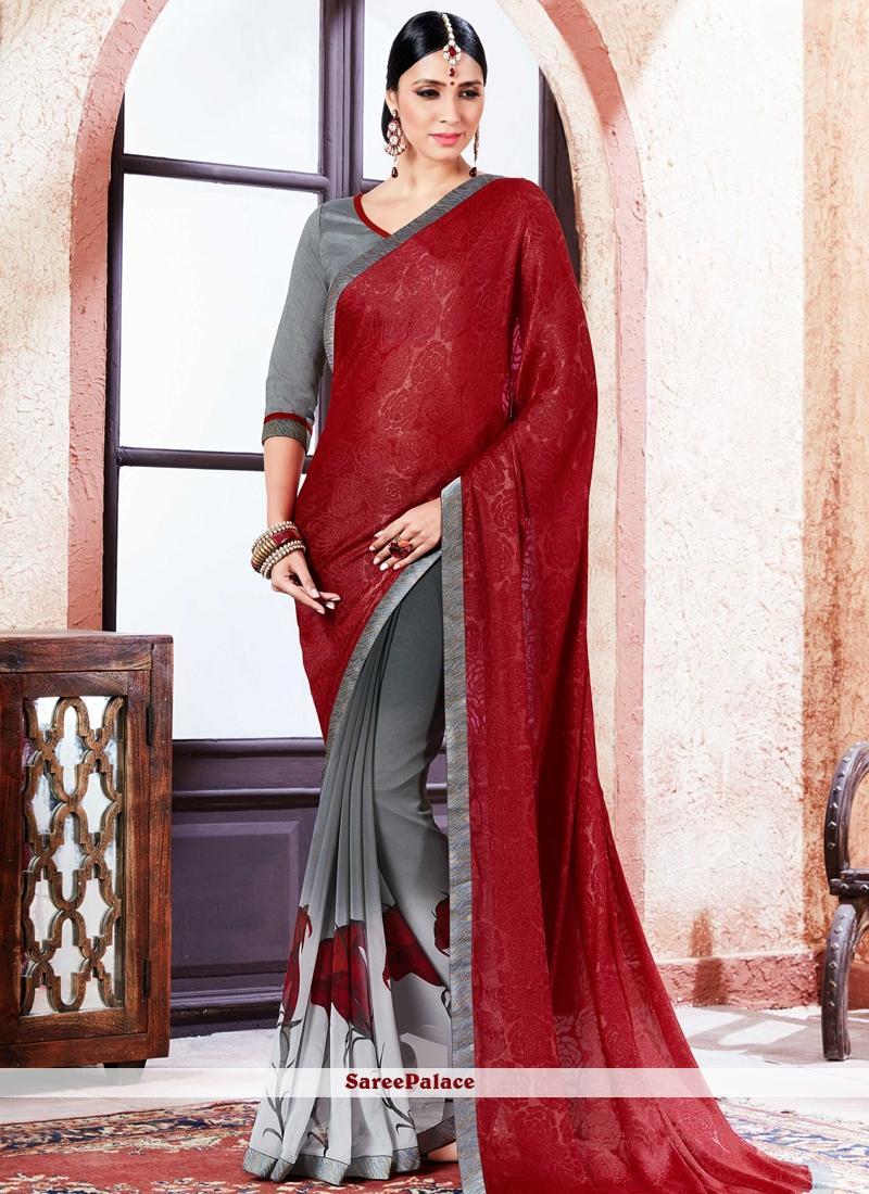 Majestic Faux Georgette Multi Colour Lace Work Printed Saree