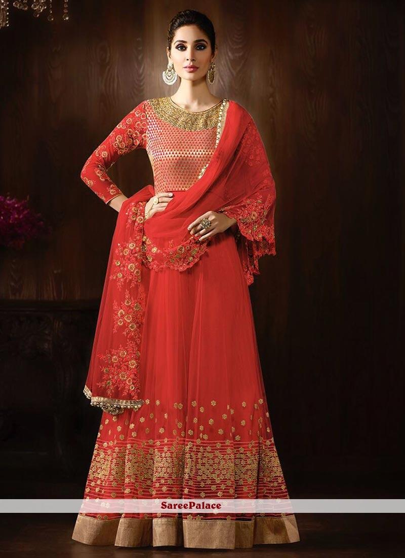 Majestic Net Red Anarkali Salwar Kameez