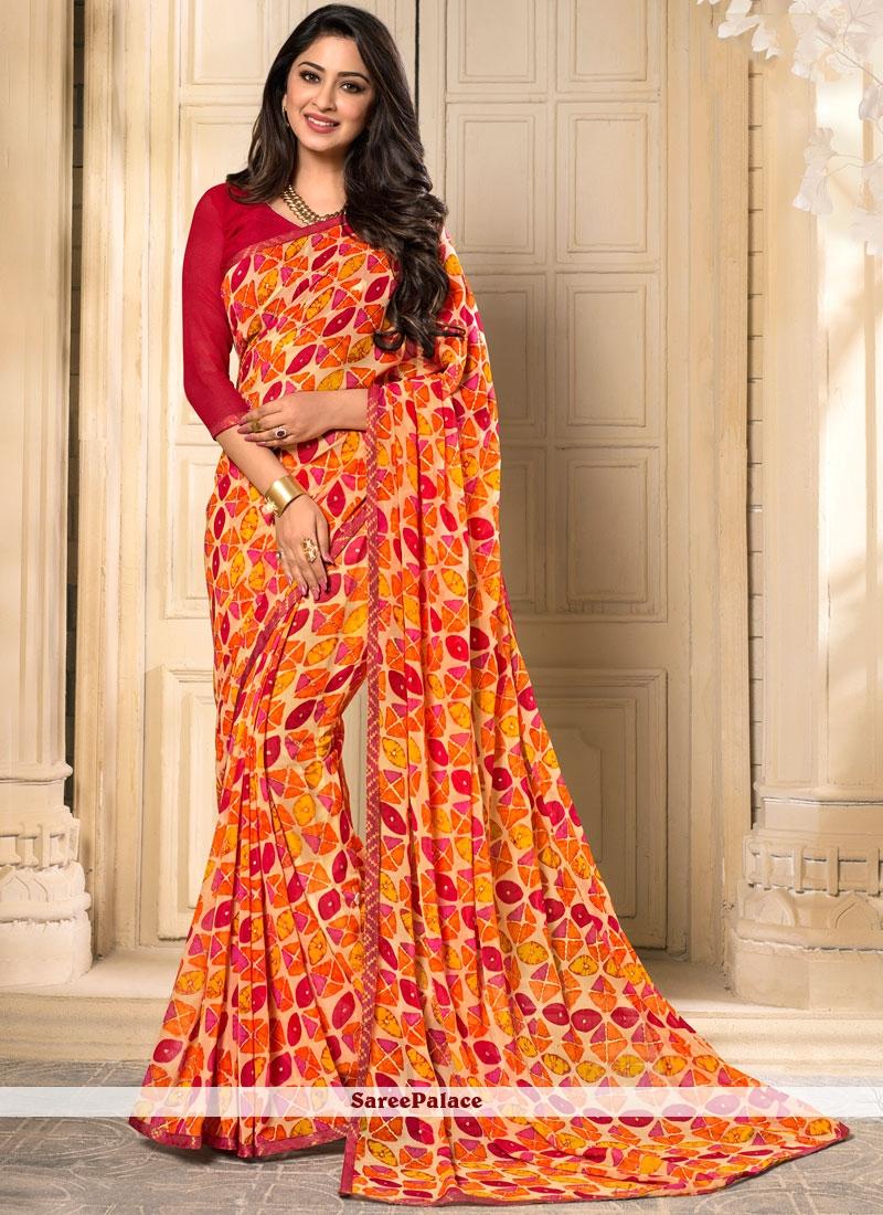 Majestic Orange Georgette Casual Saree