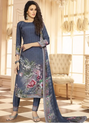 Majestic Print Work Faux Crepe Multi Colour Designer Suit