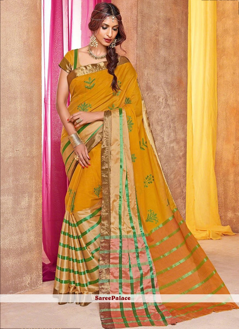 Majestic Yellow Embroidered Work Traditional  Saree