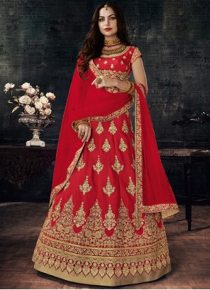 Majesty Art Silk Red Lehenga Choli