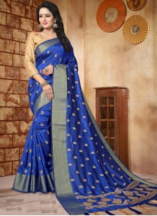Majesty Blue Patch Border Work Art Silk Traditional Designer Saree