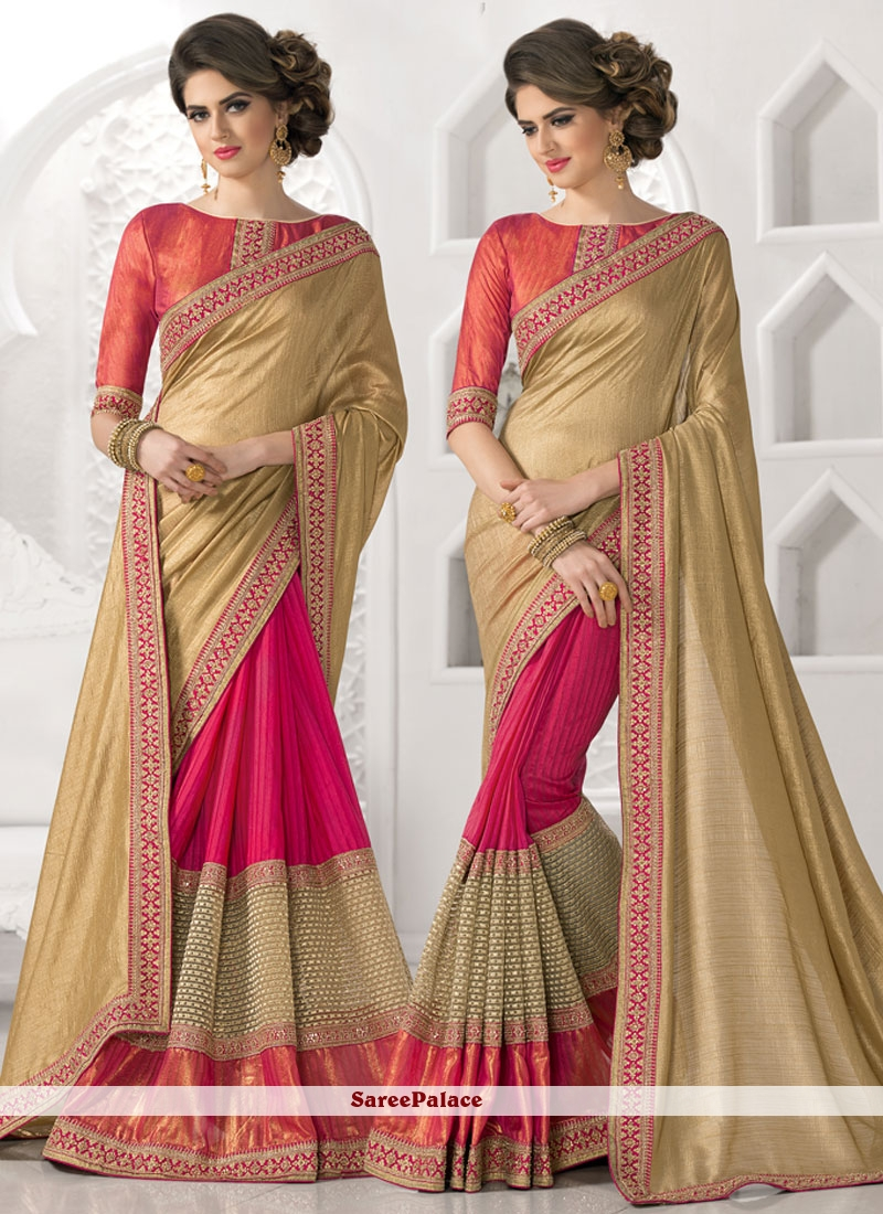 Majesty Faux Chiffon Hot Pink Saree