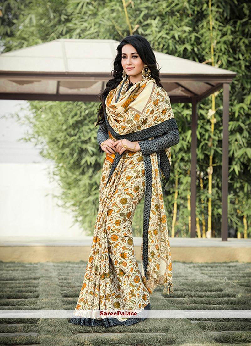 Majesty pashnima silk Multi Colour Printed Saree