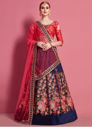 Malbari Silk  Blue and Red Lace A Line Lehenga Choli