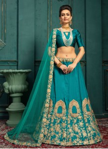 Malbari Silk  Green Embroidered Lehenga Choli