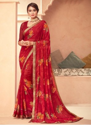 Maroon Abstract Print Faux Georgette Traditional Saree