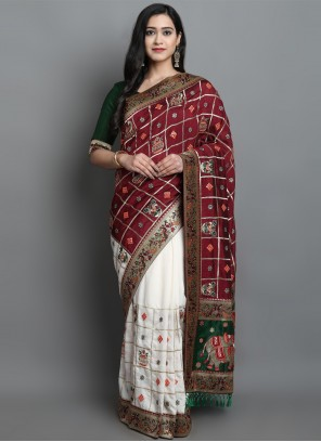Maroon and Off White Patola Print Designer Traditional Saree