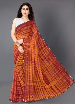 Maroon and Orange Printed Faux Georgette Casual Saree