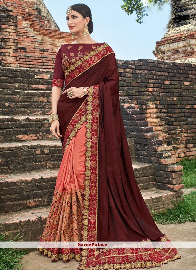 Maroon and Peach Art Silk Half N Half Designer Saree