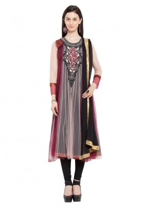 Maroon and Pink Patchwork Readymade Anarkali Salwar Suit