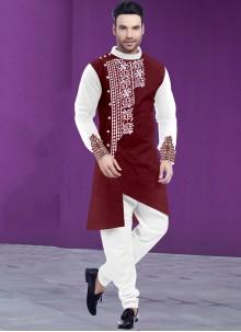 Maroon and White Festival Poly Cotton Kurta Pyjama