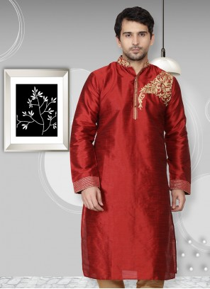Maroon Art Dupion Silk Reception Kurta