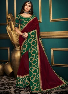 Maroon Art Silk Bridal Designer Traditional Saree