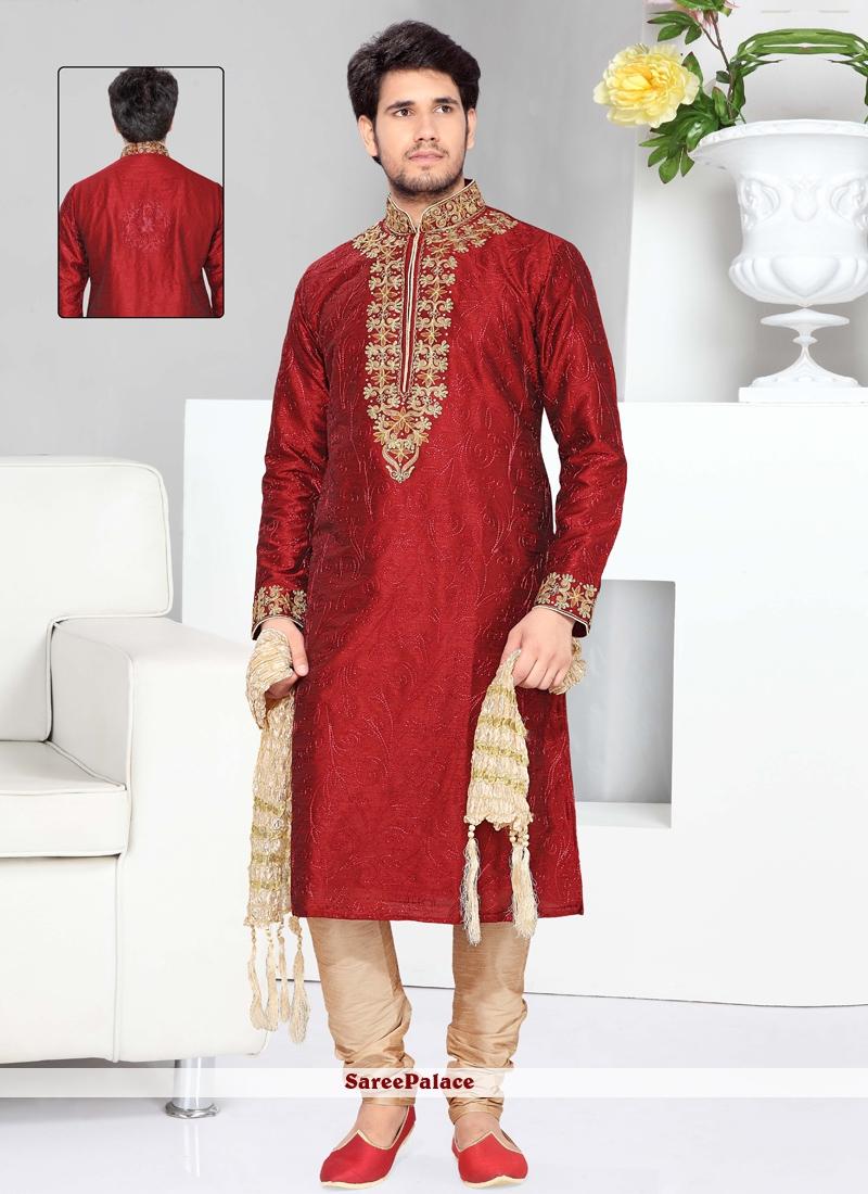 Maroon Art Silk Kurta Pyjama with Embroidered