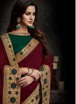 Maroon Art Silk Patch Border Designer Traditional Saree
