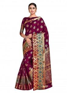 Maroon Art Silk Printed Designer Traditional Saree