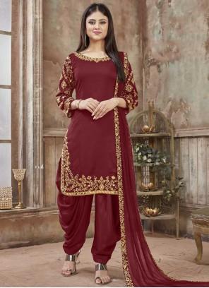 Maroon Art Silk Resham Designer Patiala Salwar Kameez