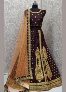 Maroon Art Silk Sangeet Lehenga Choli