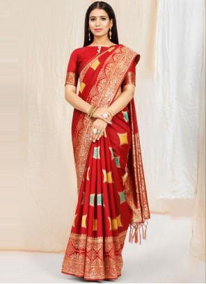 Maroon Art Silk Weaving Traditional Saree