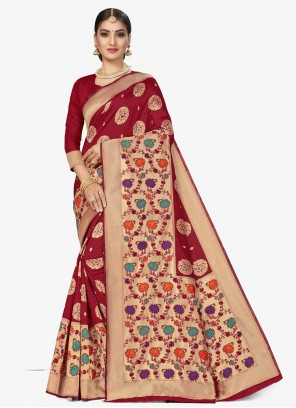 Maroon Banarasi Silk Designer Traditional Saree