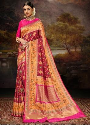Maroon Banarasi Silk Engagement Saree