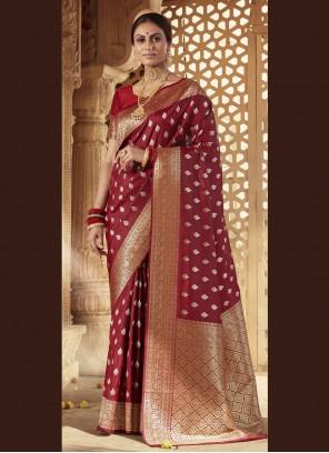 Maroon Banarasi Silk Festival Designer Traditional Saree