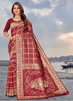Maroon Banarasi Silk Traditional Saree