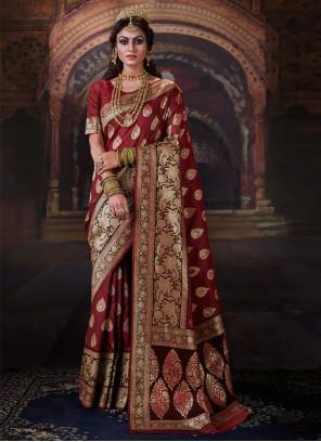 Maroon Banarasi Silk Trendy Saree