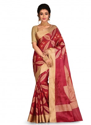 Maroon Banarasi Silk Weaving Classic Saree