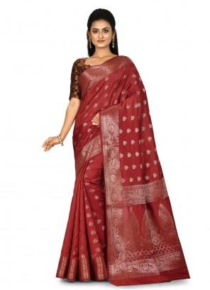 Maroon Banarasi Silk Wedding Trendy Saree