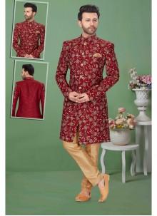 Maroon Banglori Silk Embroidered Sherwani