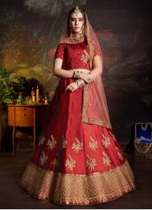 Maroon Bridal Satin Lehenga Choli