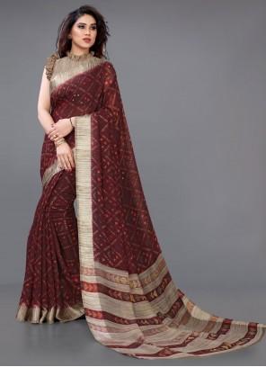 Maroon Casual Printed Saree